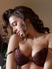 Penelope strips her sexy brown   lingerie baring her perfectly   toned body with gorgeous puffy   breasts, and smooth, shaven pussy   all over the sof