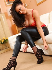Amazing brunette Claire teasing in skin tight leggings and stockings (Non Nude)