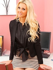 Blonde Becki wear suspenders to the office